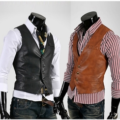 Consto - Faux Leather Vest
