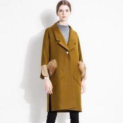 Halona - 毛绒边单扣外套