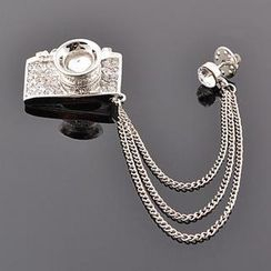 Trend Cool - Rhinestone Camera Brooch