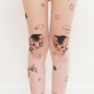 Clair Fashion - Tattoo-Print Tights