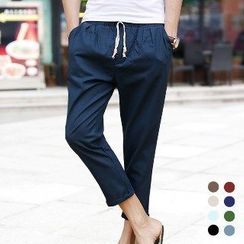 Aozora - Drawstring Cropped Pants