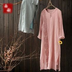 Rosadame - Embroidered Long-Sleeve Dress