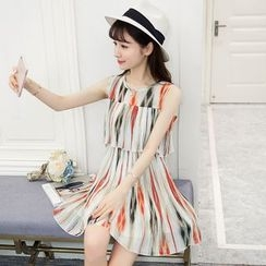 EFO - Striped Pleated Chiffon Dress
