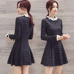 Alisha - Lace Collar Long-Sleeve A-Line Dress