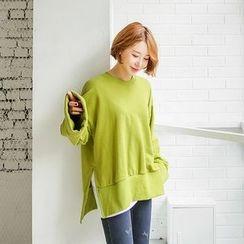 Seoul Fashion - Cuffed-Sleeve Slit-Hem Pullover
