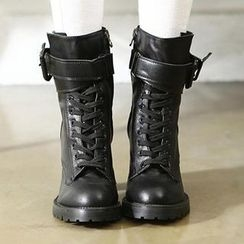 REDOPIN - Buckled Lace-Up Boots