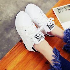 Wello - 拼色厚底繫帶休閒鞋