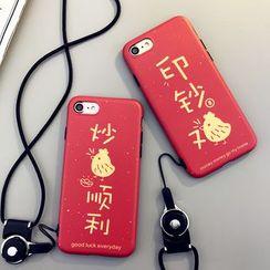 Cartoon Face - 印花电话保护套连颈带 - 苹果iPhone 6 / 6 Plus / 7 / 7 Plus