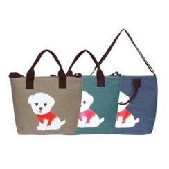 LISEN - Dog Print Canvas Shopper Bag