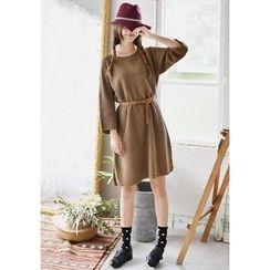 GOROKE - Frayed-Edge Rib-Knit Dress