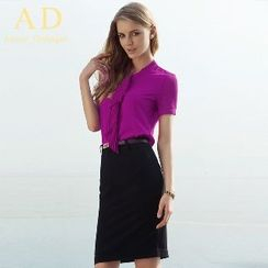 Aision - Pleated Ruffle Blouse / Pencil Skirt