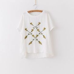 Rosadame - 刺绣多层网纱短袖上衣