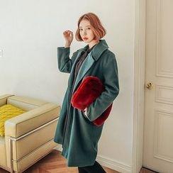 Seoul Fashion - Double-Breasted Brushed-Fleece Long Coat