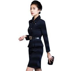 Aision - Set: Double-Breasted Blazer + Pencil-Cut Skirt