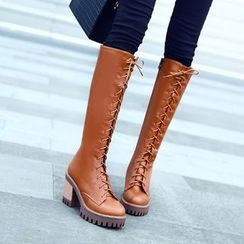 Pastel Pairs - Chunky Heel Lace Up Tall Boots