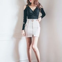 Aurora - Set: Cutout-Sleeve Top + Skirt