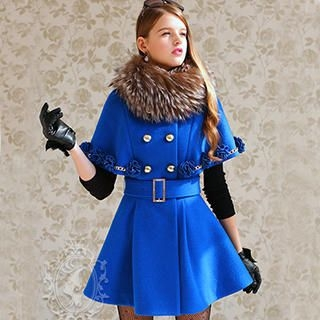 Dabuwawa - Corsage Accent Double-Breasted Cape Coat
