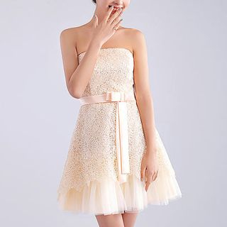 Royal Style - Strapless Crochet Overlay A-Line Cocktail Dress