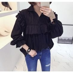 Miamasvin - Puff-Sleeve Frilled Cotton Blouse