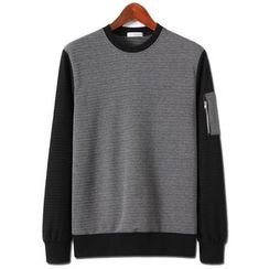 Seoul Homme - Zipper-Detail Two-Tone Pullover