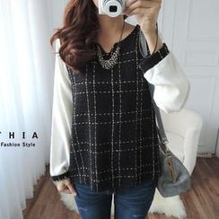 CYNTHIA - Chiffon-Sleeve Plaid Blouse