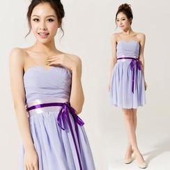 Gracia - Strapless Tie-Waist Party Dress