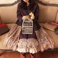 Nectarine - Long-Sleeve Lace-Panel Dress