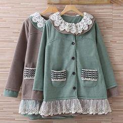 Nectarine - Lace-Panel Tweed Jacket