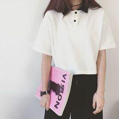 IndiGirl - 短袖配色邊馬球衫