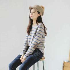 JUSTONE - Round-Neck Elbow-Patch Stripe T-Shirt