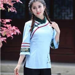 Venesia - Striped Floral Print 3/4 Sleeve Cheongsam Top