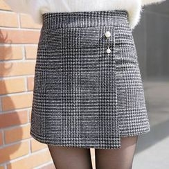 CLICK - Houndstooth Check Wrap Shorts