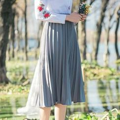 Sens Collection - Plain Pleated Midi Skirt