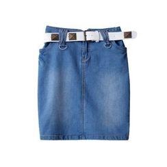 Isadora - Washed Denim Skirt with Studded Belt