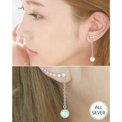 Miss21 Korea - Faux-Pearl Dangled Silver Ear Pins (2 pcs)