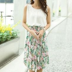 Isadora - Floral Print Sleeveless Chiffon Dress