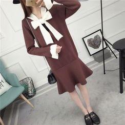 Loytio - Long-Sleeve Bow Neck Knit Dress
