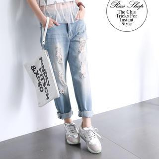 rico - Star-Print Distressed Boyfriend Jeans