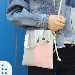 Bolso - Colour Block Faux Leather Shoulder Bag