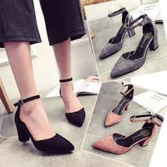 BARCA - Block Heel Pointy Sandals