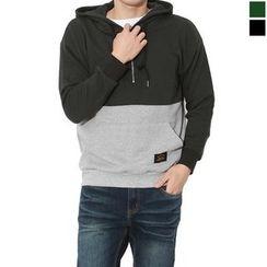Seoul Homme - Hooded Color-Block Sweatshirt