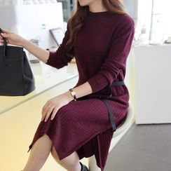anzoveve - Ribbon Detail Midi Knit Dress