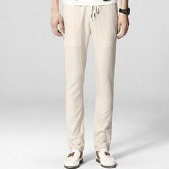 HEIZE - Drawstring Straight-Leg Pants