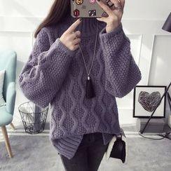 Qimi - Plain Cable Knit Sweater
