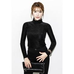 INSTYLEFIT - Turtle-Neck Sheer Knit Top