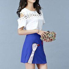 Cobogarden - Set: Crochet Trim Cut Out Shoulder Short Sleeve T-Shirt + Applique Mini Skirt