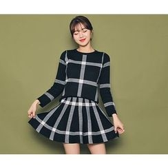 HOTPING - Set: Round-Neck Checked Top + Band-Waist A-Line Skirt