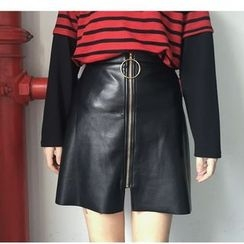 MATO - Front Zip A-Line Mini Faux Leather Skirt