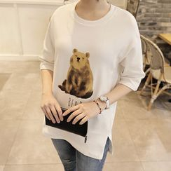 CLICK - Elbow-Sleeve Printed Long T-Shirt