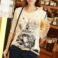 CLICK - Eiffel Tower Print Long-Sleeved T-Shirt
